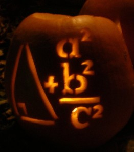 A pythagorean theorem pumpkin I carved once for Halloween, proving the obvious – that math is fun!