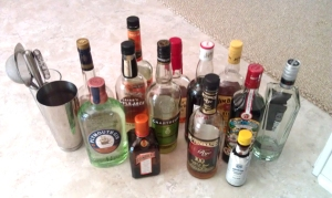 A small sampling of the items in my bar-less bar.