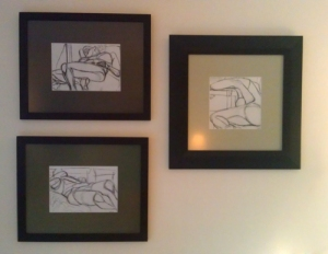 My living room art. A constant reminder of the fun I had drawing naked people for college credit.