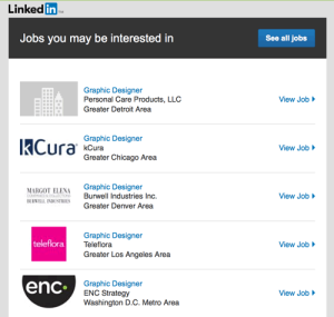 My weekly jobs email from LinkedIn. Not quite where I'm headed.