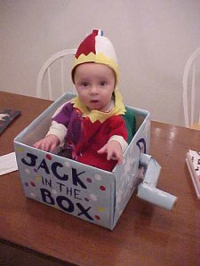 In an attempt to lighten up this post, I give you a baby in a jack-in-the-box costume.