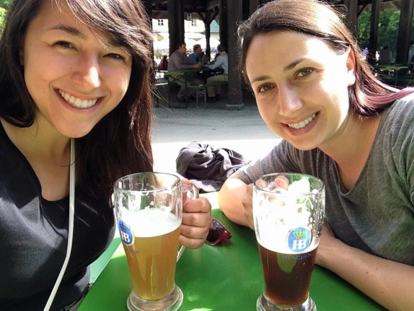 Anna and I enjoying our beers at the Chinese Beer Garden