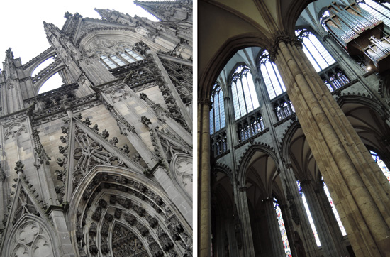Cologne Cathedral exterior, left, and interior, right.