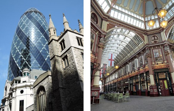 The Gherkin Building on the left (the egg-shaped one) and Leadenhall Market on the right.