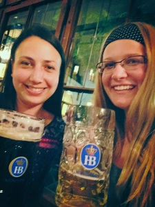 Me and Janelle at Hofbrauhaus with our giant beers.