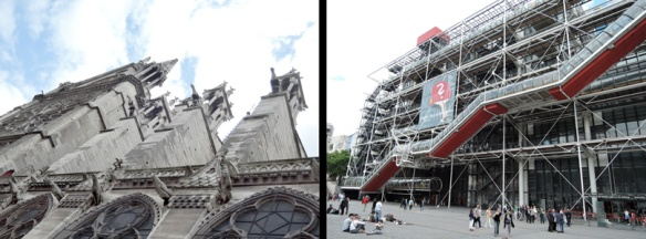 Notre Dame on the left and Centre Pompidou on the right.