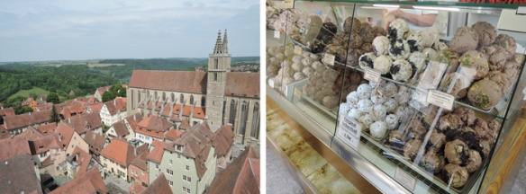 Rothenburg from the Town Hall tower, left, and Snowballs, the Rothenburg specialty pastry, right.