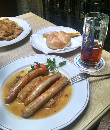 Sometimes you just want a plate of sausages and a mug of beer.